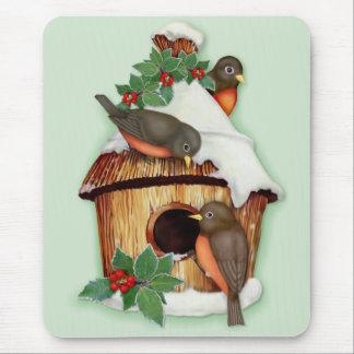 Pájaros y Birdhouse del invierno Alfombrillas De Ratones
