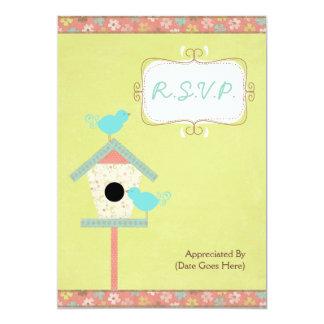"""Pájaros y Birdhouse lindos y lamentables R.S.V.P. Invitación 5"""" X 7"""""""