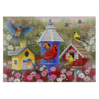 Pájaros y Birdhouses coloridos Tablas Para Cortar