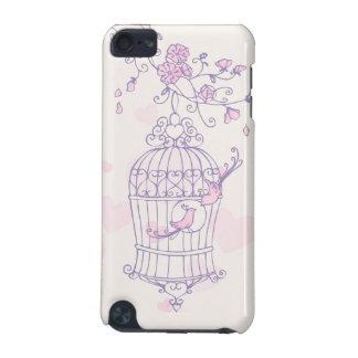 Pájaros y caja rosada y púrpura de la jaula de iPo