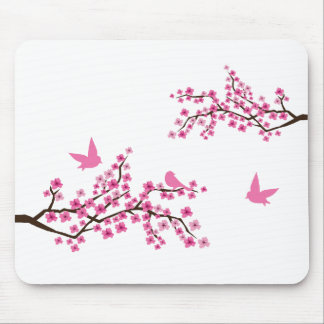 Pájaros y cojín de ratón de las flores de cerezo tapetes de ratón