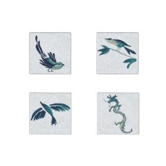 Pájaros y dragón de Sumi-e Imán De Piedra