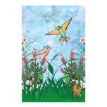 Pájaros y floral flyer personalizado