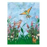 Pájaros y floral postal