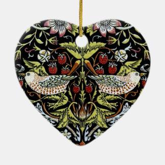 Pájaros y flores 2 de William Morris actualizados Adorno Navideño De Cerámica En Forma De Corazón