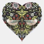Pájaros y flores 2 de William Morris Pegatina En Forma De Corazón