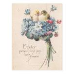 Pájaros y flores adorables de Pascua del vintage Tarjeta Postal