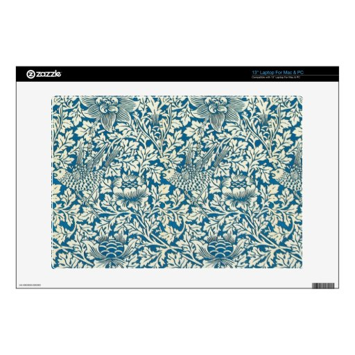 Pájaros y flores azules portátil 33cm skin
