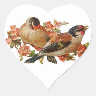 Pájaros y flores de cerezo colcomanias de corazon