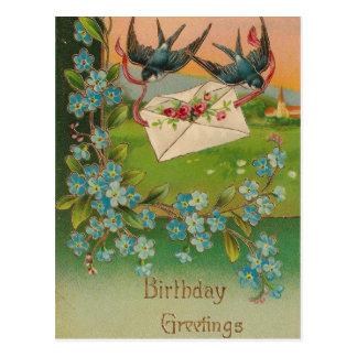 Pájaros y flores de la postal del cumpleaños del v