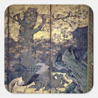 Pájaros y flores de las cuatro estaciones pegatina cuadrada