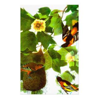 Pájaros y flores del día de primavera del vintage personalized stationery
