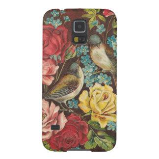 Pájaros y flores del vintage carcasas de galaxy s5