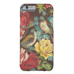 Pájaros y flores del vintage funda de iPhone 6 barely there