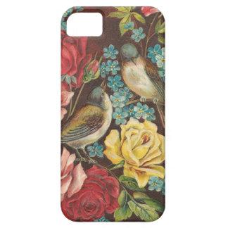 Pájaros y flores del vintage funda para iPhone SE/5/5s