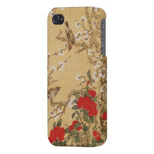 Pájaros y flores del vintage iPhone 4/4S carcasas