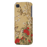 Pájaros y flores del vintage iPhone 4/4S fundas