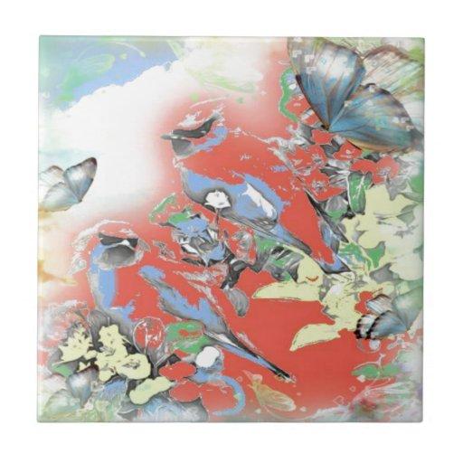 Pájaros y flores en rojo azulejo