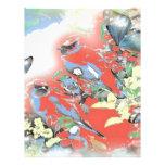 Pájaros y flores en rojo plantillas de membrete