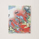 Pájaros y flores en rojo puzzles con fotos