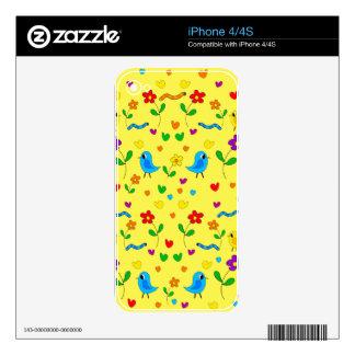 Pájaros y flores lindos - amarillo iPhone 4 calcomanía