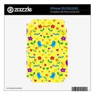 Pájaros y flores lindos - amarillo skin para el iPhone 3G