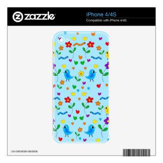 Pájaros y flores lindos - azul iPhone 4 skins