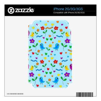 Pájaros y flores lindos - azul skins para iPhone 2G