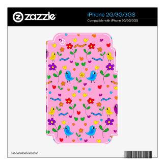 Pájaros y flores lindos - rosa calcomanías para el iPhone 3G