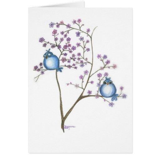Pájaros y flores Notecard