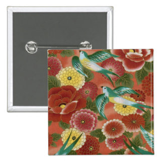 Pájaros y flores pin cuadrada 5 cm