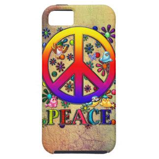 Pájaros y flores retros modernos del texto del sig iPhone 5 Case-Mate carcasa