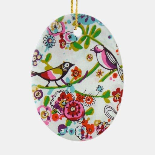 Pájaros y flores tontos adorno navideño ovalado de cerámica