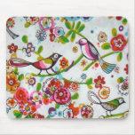 Pájaros y flores tontos tapetes de raton
