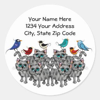 Pájaros y gatos de la canción etiquetas redondas