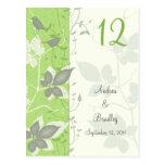Pájaros y hojas que casan la tarjeta del número de tarjeta postal