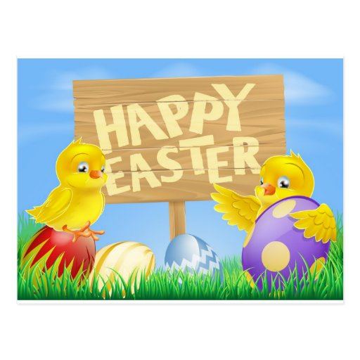 Pájaros y huevos de Pascua con la muestra Tarjeta Postal