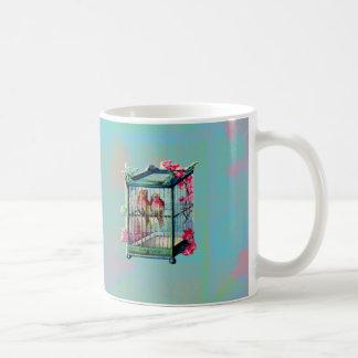Pájaros y jaula de pájaros del vintage taza clásica