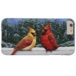 Pájaros y luces de navidad cardinales funda de iPhone 6 plus barely there