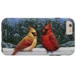 Pájaros y luces de navidad cardinales funda de iPhone 6 plus tough