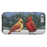 Pájaros y luces de navidad cardinales funda para iPhone 6 tough