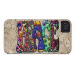 Pájaros y mariposas del arte de la palabra de la p iPhone 4 Case-Mate fundas