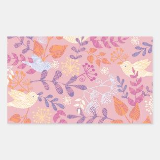 Pájaros y modelo texturizado floral pegatina rectangular