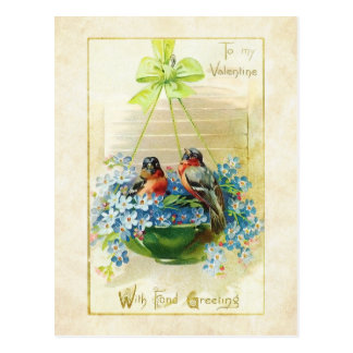Pájaros y nomeolvides del amor de la tarjeta del d tarjetas postales