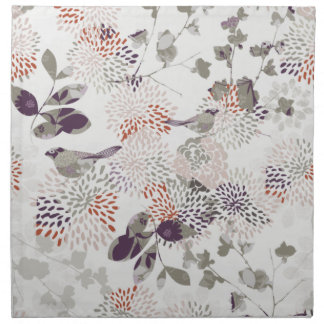 Pájaros y papel pintado púrpuras de las flores servilleta