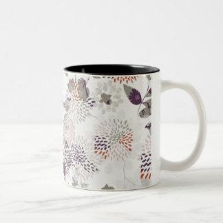 Pájaros y papel pintado púrpuras de las flores taza de dos tonos