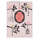 Pájaros y ramas del vintage tarjetas