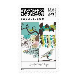 Pájaros y sello floral