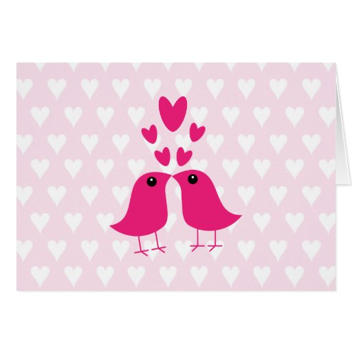 Pájaros y tarjeta rosada de la tarjeta del día de