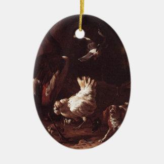 Pájaros y un perro de aguas en un jardín por el adorno ovalado de cerámica
